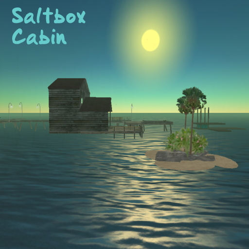 A saltbox fishing cabin in Second Life