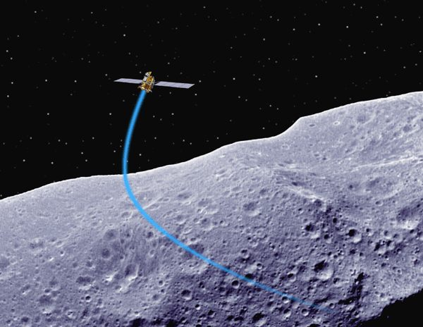 NASA artist concept of Deep Space 1 spacecraft over Asteroid Braille