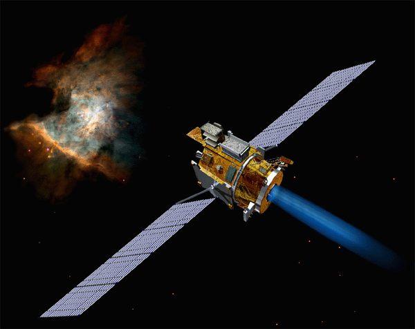 NASA artist concept of Deep Space 1 spacecraft over Asteroid Braille