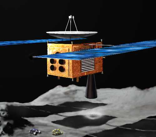 ISAS art concept of Japan's MUSES-C probe over an asteroid
