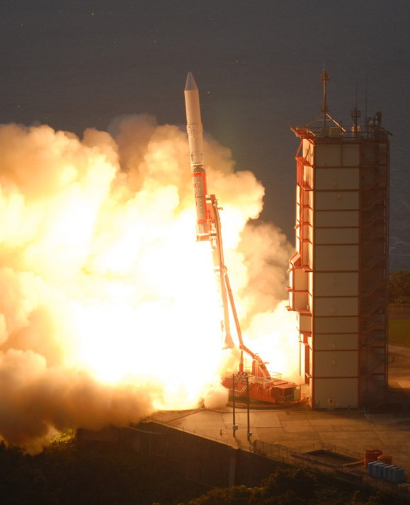 JAXA photo of Solar-B launching on a Japanese M-V-7 rocket on September 22, 2006. The satellite was renamed Hinode when it arrived in orbit above Earth