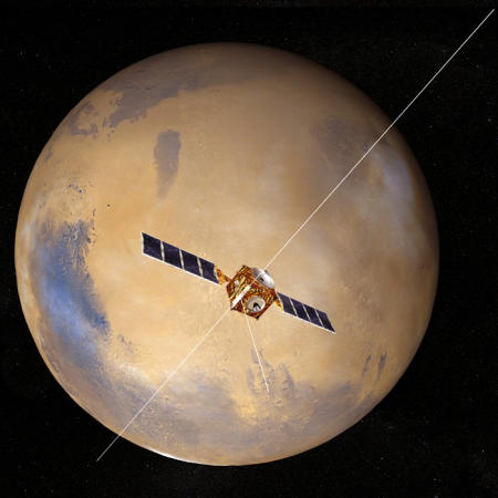 European Space Agency artist's conception of Mars Express above the Red Planet
