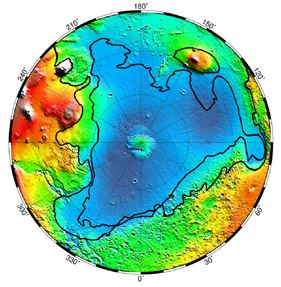 Mars Global Surveyor map of Ancient Oceans on Mars