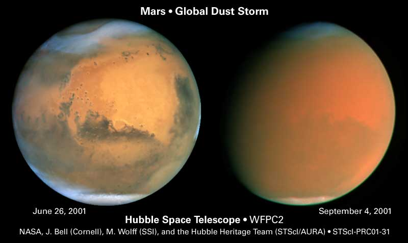 Mars global dust storm in 2001 Hubble image