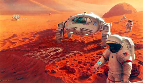 NASA artist concept of future explorers on the Red Planet