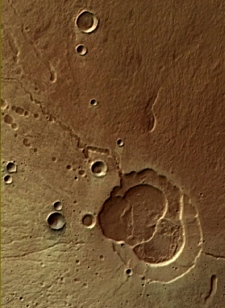 Mars Express photo of of Hecates Tholus volcano