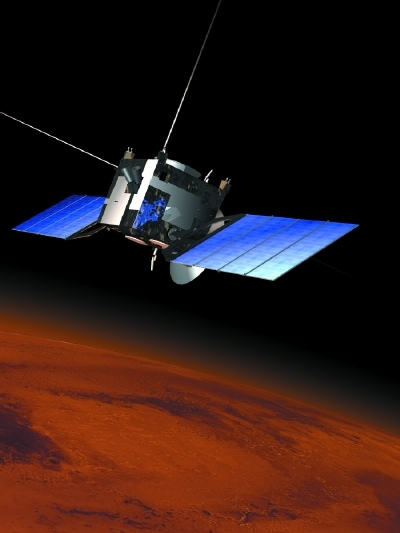 European Space Agency artist's conception of the Mars Express orbiter above the Red Planet