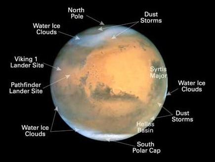 Mars features identified in NASA image