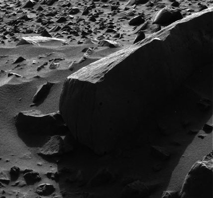 NASA photo of rock Sandia by rover Spirit on Mars