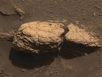 NASA photo of rock known as Snout or Stone Mountain by rover Opportunity on Mars