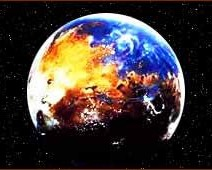 Artist conception of Mars with water four billion years ago