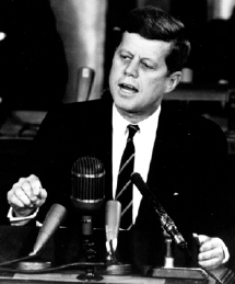 US President John F Kennedy addresses Congress in 1961