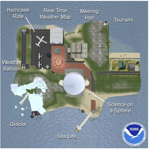 Map of NOAA island in Second Life