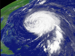 NOAA satellite image of Hurricane Isabel on September 16, 2003, at 10:15 a.m. EDT