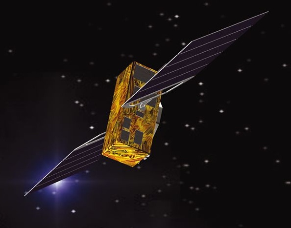 ESA artist conception of A Galileo European navigation satellite in orbit above Earth