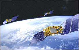 ESA artist conception of flotilla of Galileo European navigation satellites in orbit above Earth