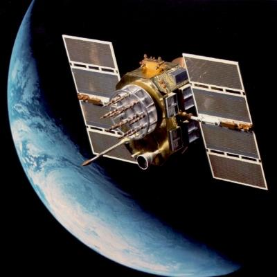 USAF Research Laboratory artist conception of GPS navigation satellite in orbit above Earth