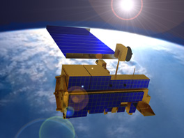 NASA artist conception of Terra satellite in orbit above Earth