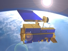 NASA artist concept of environmental satellite Terra in orbit