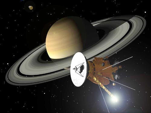 NASA artist concept of Cassini at Saturn