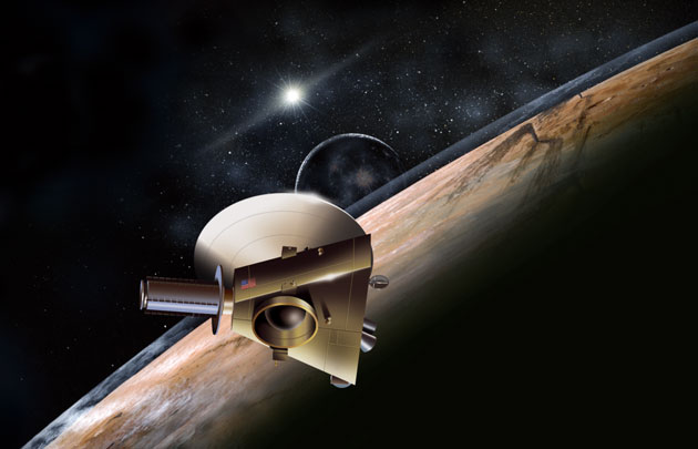 Artist conception of New Horizons spacecraft at the Solar System's ninth planet Pluto and its moon Charon (JHUAPL/SwRI)