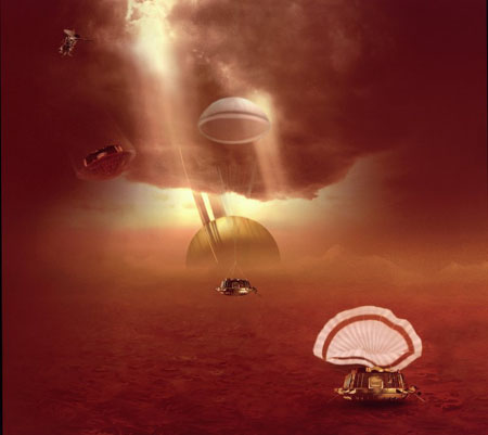 ESA artist's view of Europe's Huygens lander dropping from Cassini to the surface of Titan