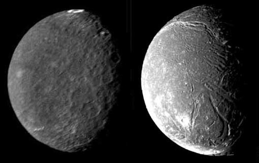 NASA Image Uranus Moons Umbriel and Ariel