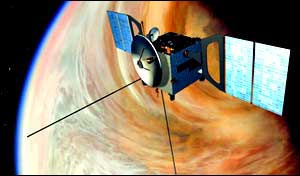 An ESA artist concept of the Venus Express interplanetary probe over Venus