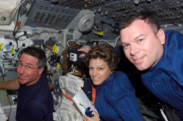 NASA photo of STS-114 commander Eileen Collins, mission specialist Stephen Robinson, pilot James Kelly