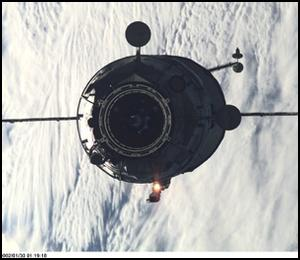 Pirs approaches the International Space Station