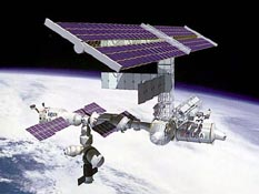 NASA artist concept of International Space Station in orbit over Earth