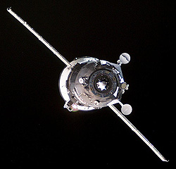 Russian Progress cargo freighter in space